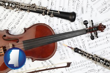 classical musical instruments - with Mississippi icon