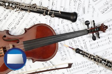 classical musical instruments - with North Dakota icon