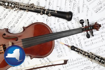 classical musical instruments - with New York icon