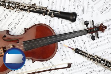 classical musical instruments - with Pennsylvania icon
