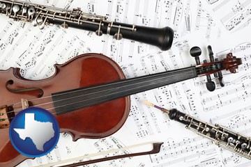 classical musical instruments - with Texas icon