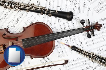 classical musical instruments - with Utah icon