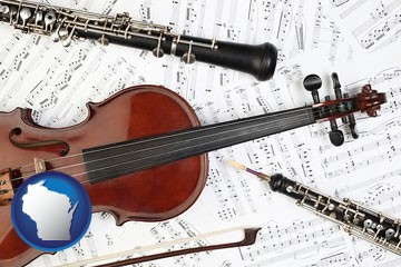 classical musical instruments - with Wisconsin icon