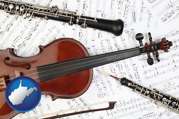 classical musical instruments - with West Virginia icon