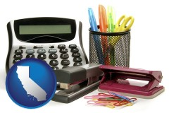 california map icon and office supplies: calculator, paper clips, pens, scissors, stapler, and staples