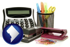 washington-dc office supplies: calculator, paper clips, pens, scissors, stapler, and staples