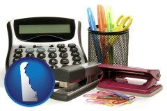 delaware map icon and office supplies: calculator, paper clips, pens, scissors, stapler, and staples