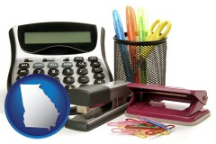georgia office supplies: calculator, paper clips, pens, scissors, stapler, and staples