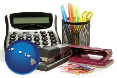 hawaii map icon and office supplies: calculator, paper clips, pens, scissors, stapler, and staples