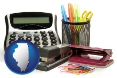 illinois map icon and office supplies: calculator, paper clips, pens, scissors, stapler, and staples