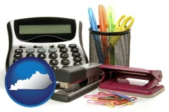 kentucky office supplies: calculator, paper clips, pens, scissors, stapler, and staples