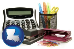 louisiana office supplies: calculator, paper clips, pens, scissors, stapler, and staples