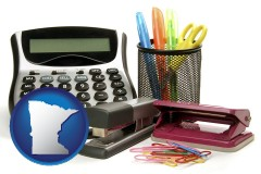 minnesota map icon and office supplies: calculator, paper clips, pens, scissors, stapler, and staples
