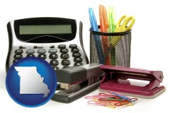 missouri office supplies: calculator, paper clips, pens, scissors, stapler, and staples