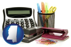 mississippi office supplies: calculator, paper clips, pens, scissors, stapler, and staples