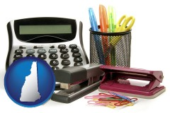 new-hampshire office supplies: calculator, paper clips, pens, scissors, stapler, and staples