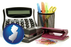 new-jersey map icon and office supplies: calculator, paper clips, pens, scissors, stapler, and staples