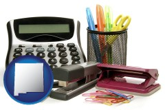 new-mexico office supplies: calculator, paper clips, pens, scissors, stapler, and staples