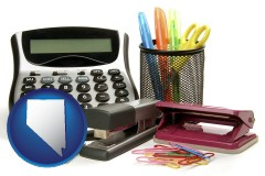 nevada office supplies: calculator, paper clips, pens, scissors, stapler, and staples