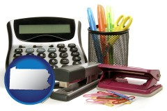 pennsylvania map icon and office supplies: calculator, paper clips, pens, scissors, stapler, and staples