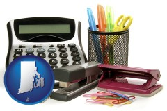 rhode-island office supplies: calculator, paper clips, pens, scissors, stapler, and staples