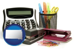 south-dakota office supplies: calculator, paper clips, pens, scissors, stapler, and staples