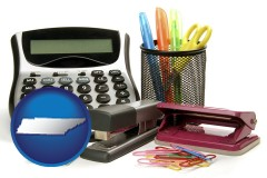tennessee map icon and office supplies: calculator, paper clips, pens, scissors, stapler, and staples