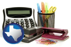 texas map icon and office supplies: calculator, paper clips, pens, scissors, stapler, and staples