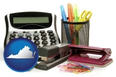 virginia office supplies: calculator, paper clips, pens, scissors, stapler, and staples