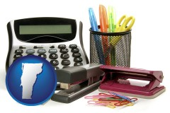 vermont office supplies: calculator, paper clips, pens, scissors, stapler, and staples