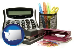 washington office supplies: calculator, paper clips, pens, scissors, stapler, and staples