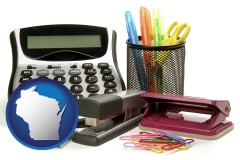 wisconsin office supplies: calculator, paper clips, pens, scissors, stapler, and staples