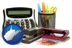 west-virginia map icon and office supplies: calculator, paper clips, pens, scissors, stapler, and staples