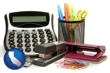 office supplies: calculator, paper clips, pens, scissors, stapler, and staples - with California icon