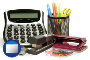 office supplies: calculator, paper clips, pens, scissors, stapler, and staples - with Colorado icon