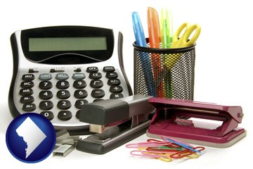 office supplies: calculator, paper clips, pens, scissors, stapler, and staples - with Washington, DC icon
