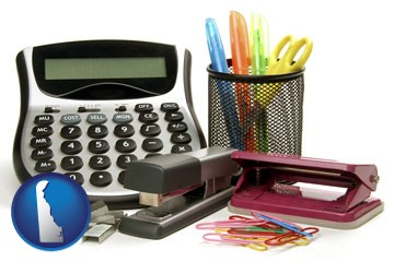 office supplies: calculator, paper clips, pens, scissors, stapler, and staples - with Delaware icon