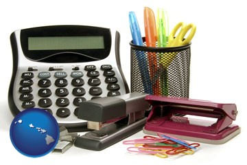 office supplies: calculator, paper clips, pens, scissors, stapler, and staples - with Hawaii icon