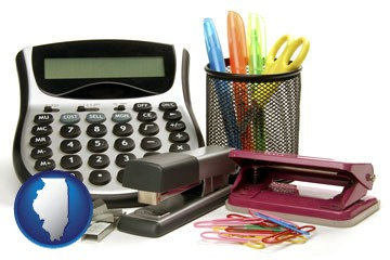 office supplies: calculator, paper clips, pens, scissors, stapler, and staples - with Illinois icon