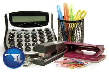 office supplies: calculator, paper clips, pens, scissors, stapler, and staples - with Maryland icon