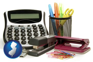 office supplies: calculator, paper clips, pens, scissors, stapler, and staples - with New Jersey icon