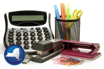 office supplies: calculator, paper clips, pens, scissors, stapler, and staples - with New York icon