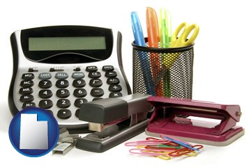 office supplies: calculator, paper clips, pens, scissors, stapler, and staples - with Utah icon