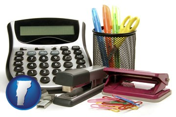 office supplies: calculator, paper clips, pens, scissors, stapler, and staples - with Vermont icon