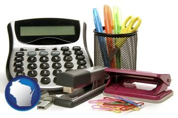 office supplies: calculator, paper clips, pens, scissors, stapler, and staples - with Wisconsin icon