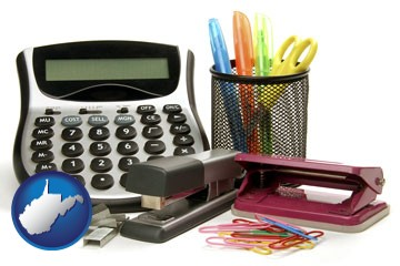 office supplies: calculator, paper clips, pens, scissors, stapler, and staples - with West Virginia icon