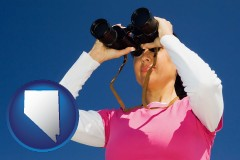 nevada map icon and a woman looking through binoculars