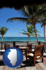 illinois map icon and outdoor furniture on a tropical, oceanfront deck