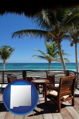 new-mexico outdoor furniture on a tropical, oceanfront deck