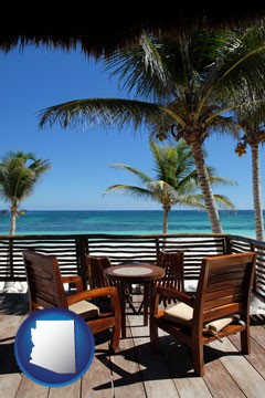 outdoor furniture on a tropical, oceanfront deck - with Arizona icon